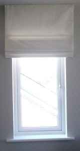 White Roman Blind outside the recess